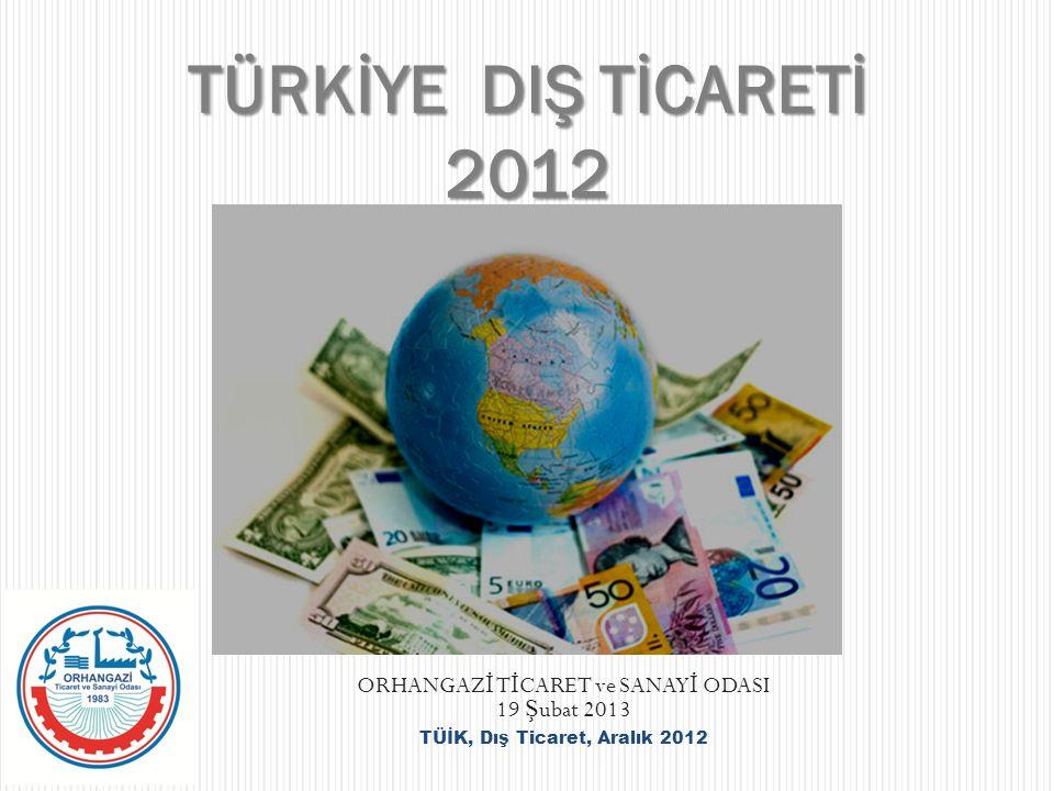 ORHANGAZ İ T İ CARET ve SANAY İ ODASI 19 Ş ubat 2013 TÜİK, Dış Ticaret, Aralık 2012 TÜRKİYE DIŞ TİCARETİ 2012