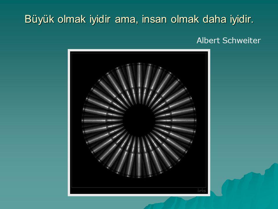 Büyük olmak iyidir ama, insan olmak daha iyidir. Albert Schweiter