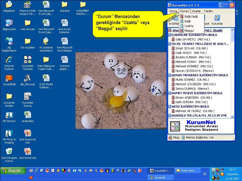 Kurumlar düğmesi tıklanarak gelen Bağlantı Listesi penceresinden bağlantı kurulması düşünülen kurumlar eklenir.