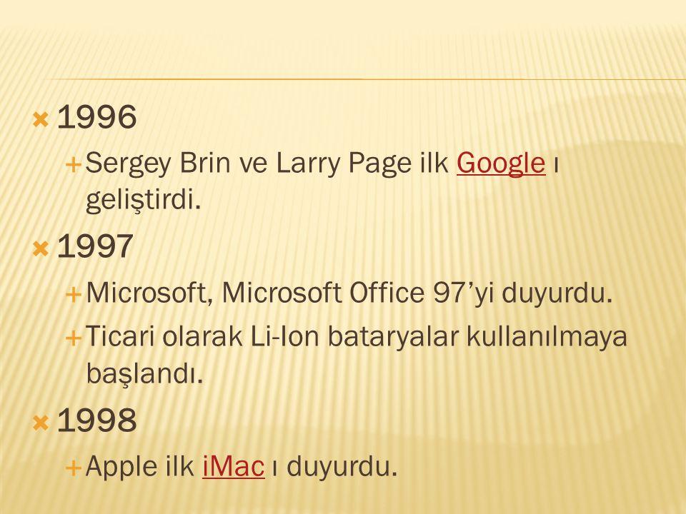  1996  Sergey Brin ve Larry Page ilk Google ı geliştirdi.Google  1997  Microsoft, Microsoft Office 97'yi duyurdu.  Ticari olarak Li-Ion bataryala