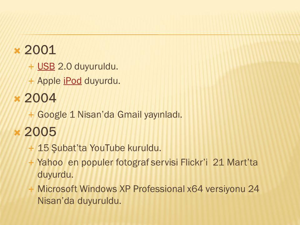  2001  USB 2.0 duyuruldu. USB  Apple iPod duyurdu.iPod  2004  Google 1 Nisan'da Gmail yayınladı.  2005  15 Şubat'ta YouTube kuruldu.  Yahoo en