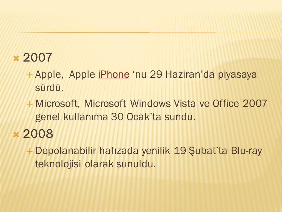  2007  Apple, Apple iPhone 'nu 29 Haziran'da piyasaya sürdü.iPhone  Microsoft, Microsoft Windows Vista ve Office 2007 genel kullanıma 30 Ocak'ta su