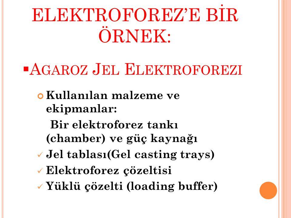  A GAROZ J EL E LEKTROFOREZI Kullanılan malzeme ve ekipmanlar: Bir elektroforez tankı (chamber) ve güç kaynağı  Jel tablası(Gel casting trays)  Elektroforez çözeltisi  Yüklü çözelti (loading buffer) ELEKTROFOREZ'E BİR ÖRNEK: