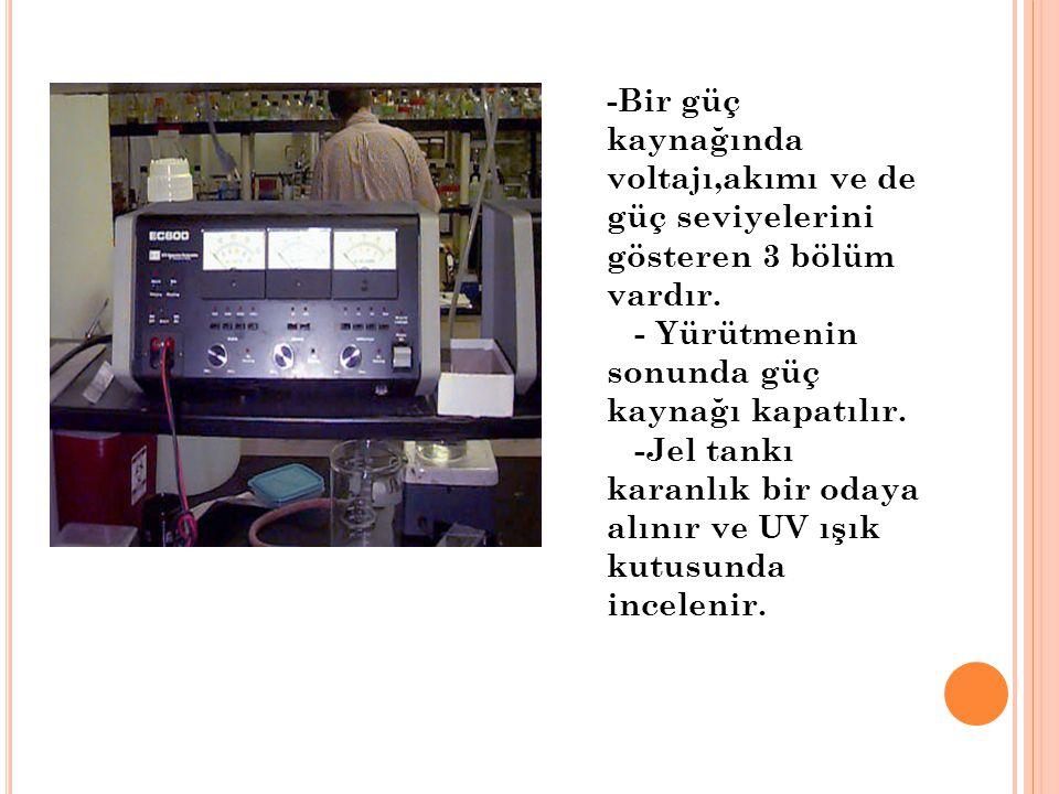 -Bir güç kaynağında voltajı,akımı ve de güç seviyelerini gösteren 3 bölüm vardır. - Yürütmenin sonunda güç kaynağı kapatılır. -Jel tankı karanlık bir