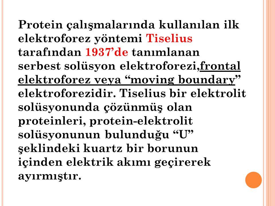 Protein çalışmalarında kullanılan ilk elektroforez yöntemi Tiselius tarafından 1937'de tanımlanan serbest solüsyon elektroforezi,frontal elektroforez