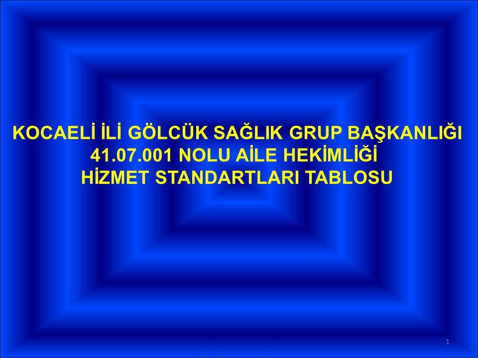 KOCAELİ İLİ GÖLCÜK SAĞLIK GRUP BAŞKANLIĞI 41.07.001 NOLU AİLE HEKİMLİĞİ HİZMET STANDARTLARI TABLOSU 1