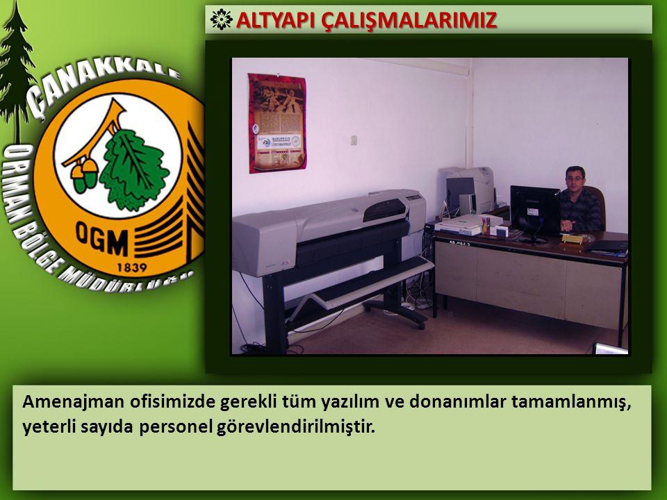 ALTYAPI ÇALIŞMALARIMIZ Amenajman ofisimizde gerekli tüm yazılım ve donanımlar tamamlanmış, yeterli sayıda personel görevlendirilmiştir.