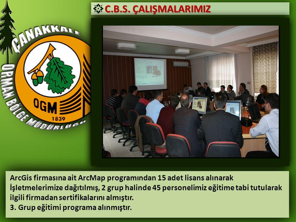 C.B.S. ÇALIŞMALARIMIZ ArcGis firmasına ait ArcMap programından 15 adet lisans alınarak İşletmelerimize dağıtılmış, 2 grup halinde 45 personelimiz eğit