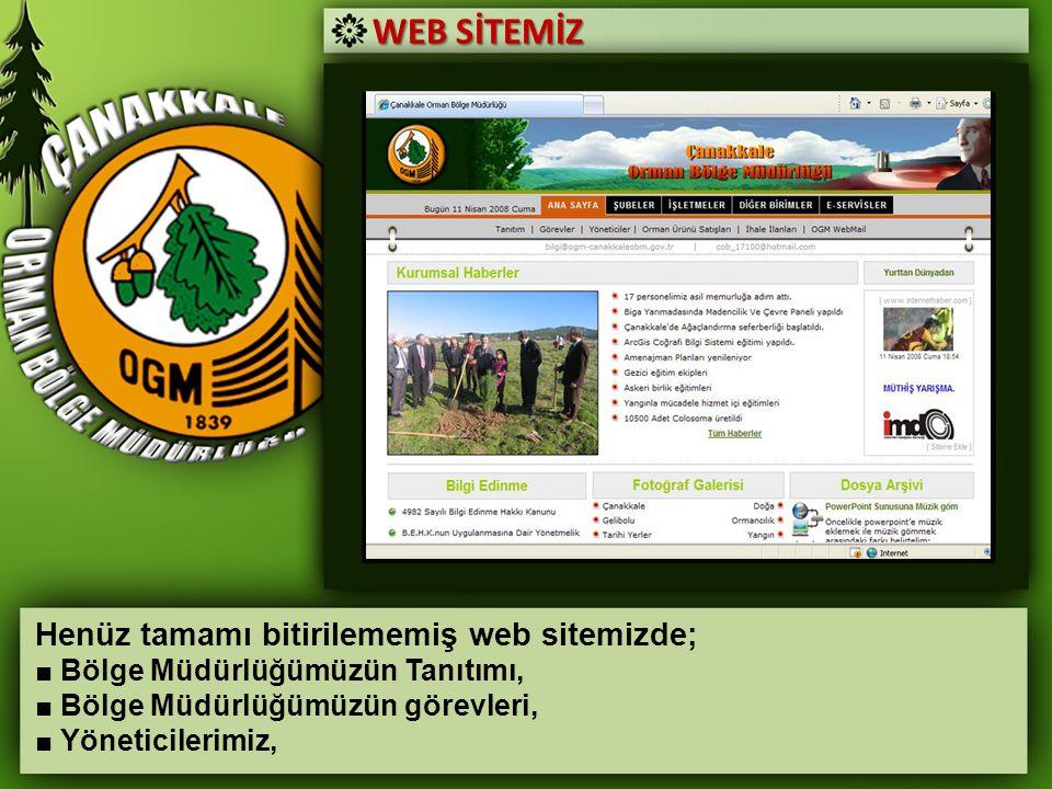 WEB SİTEMİZ Henüz tamamı bitirilememiş web sitemizde; ■ Bölge Müdürlüğümüzün Tanıtımı, ■ Bölge Müdürlüğümüzün görevleri, ■ Yöneticilerimiz,