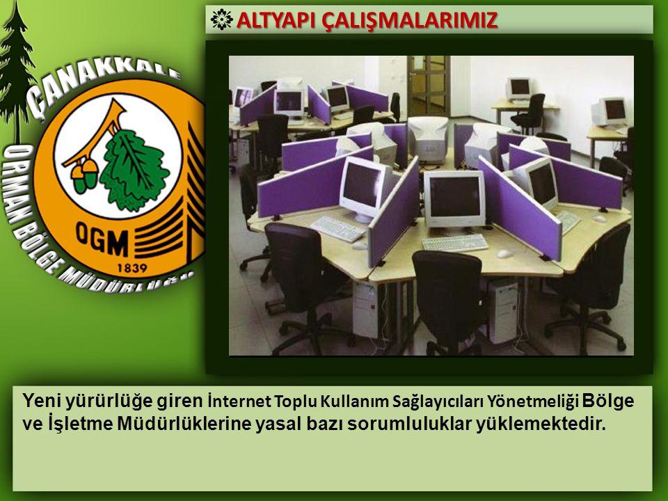 ALTYAPI ÇALIŞMALARIMIZ Yeni yürürlüğe giren İnternet Toplu Kullanım Sağlayıcıları Yönetmeliği Bölge ve İşletme Müdürlüklerine yasal bazı sorumluluklar