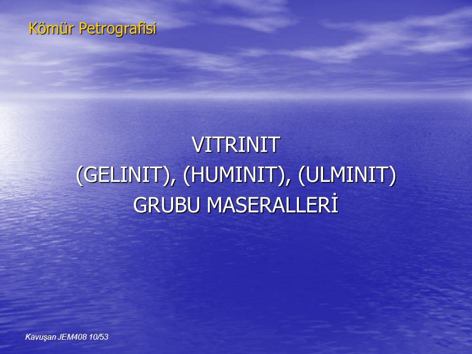 VITRINIT (GELINIT), (HUMINIT), (ULMINIT) GRUBU MASERALLERİ Kavuşan JEM408 10/53 Kömür Petrografisi