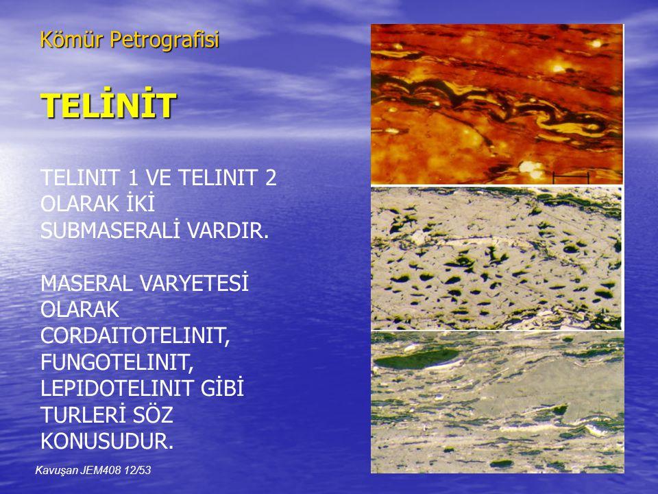 Kömür Petrografisi TELİNİT TELINIT 1 VE TELINIT 2 OLARAK İKİ SUBMASERALİ VARDIR.
