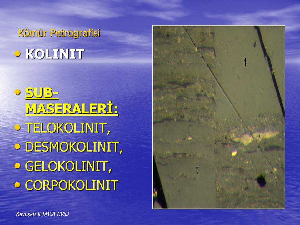 Kömür Petrografisi • KOLINIT • SUB- MASERALERİ: • TELOKOLINIT, • DESMOKOLINIT, • GELOKOLINIT, • CORPOKOLINIT Kavuşan JEM408 13/53