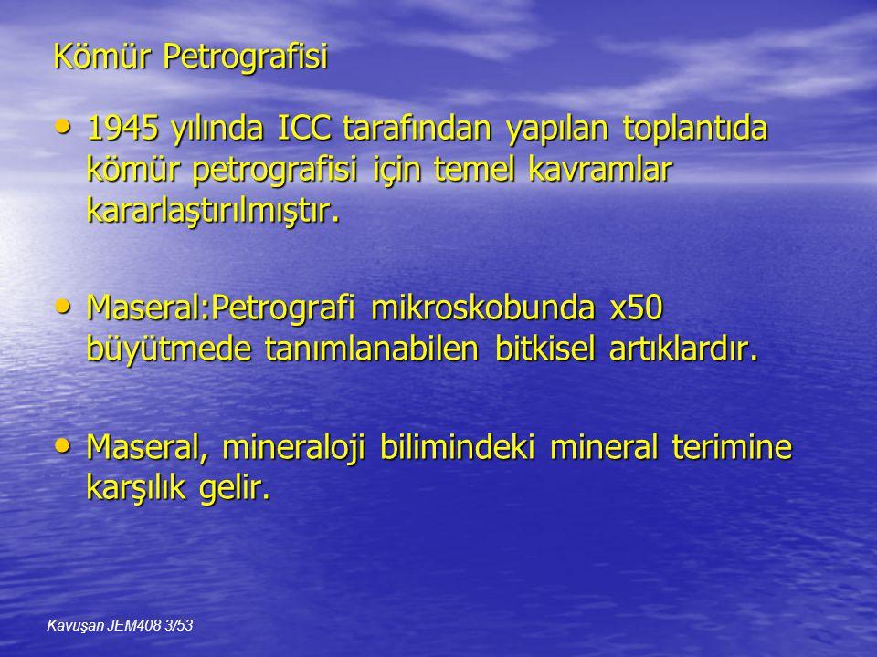 Kömür Petrografisi • 1945 yılında ICC tarafından yapılan toplantıda kömür petrografisi için temel kavramlar kararlaştırılmıştır.