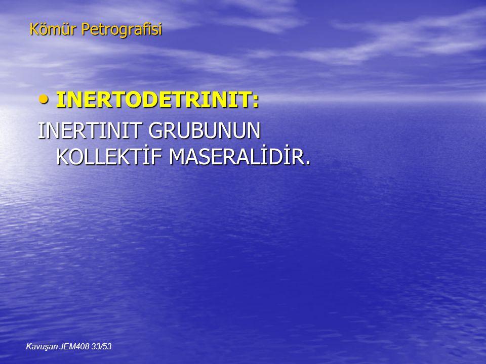 Kömür Petrografisi • INERTODETRINIT: INERTINIT GRUBUNUN KOLLEKTİF MASERALİDİR. Kavuşan JEM408 33/53