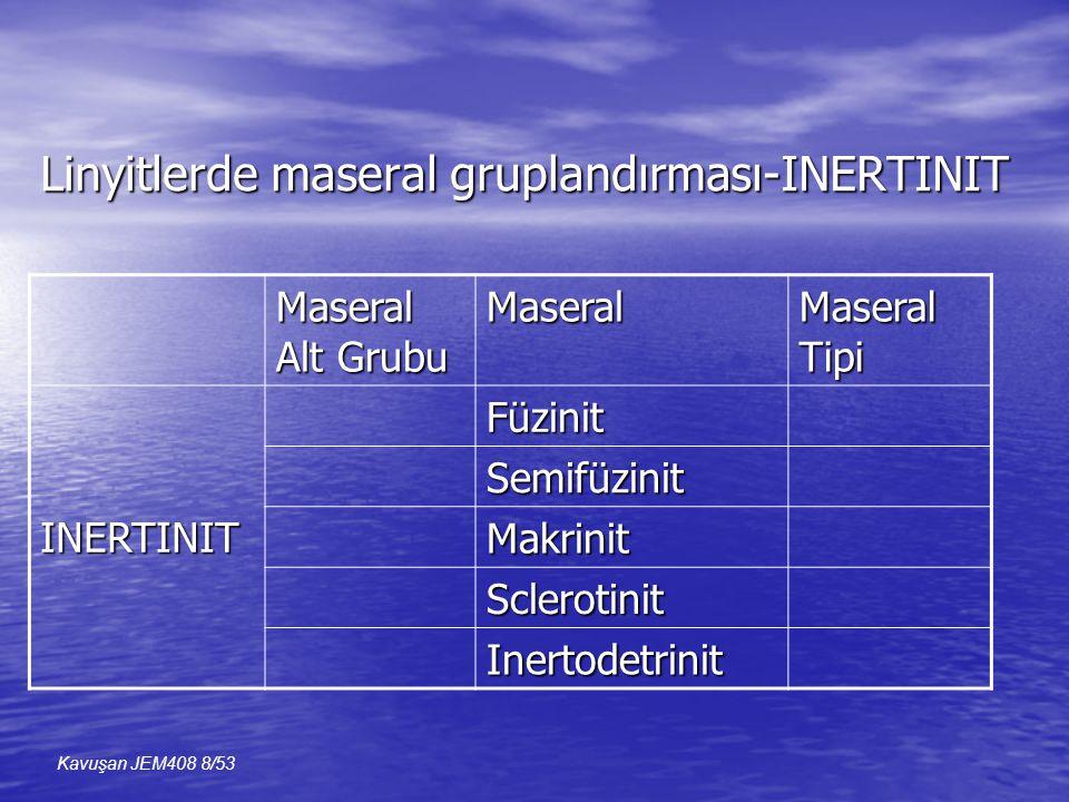 Linyitlerde maseral gruplandırması-INERTINIT Maseral Alt Grubu Maseral Maseral Tipi INERTINITFüzinit Semifüzinit Makrinit Sclerotinit Inertodetrinit Kavuşan JEM408 8/53