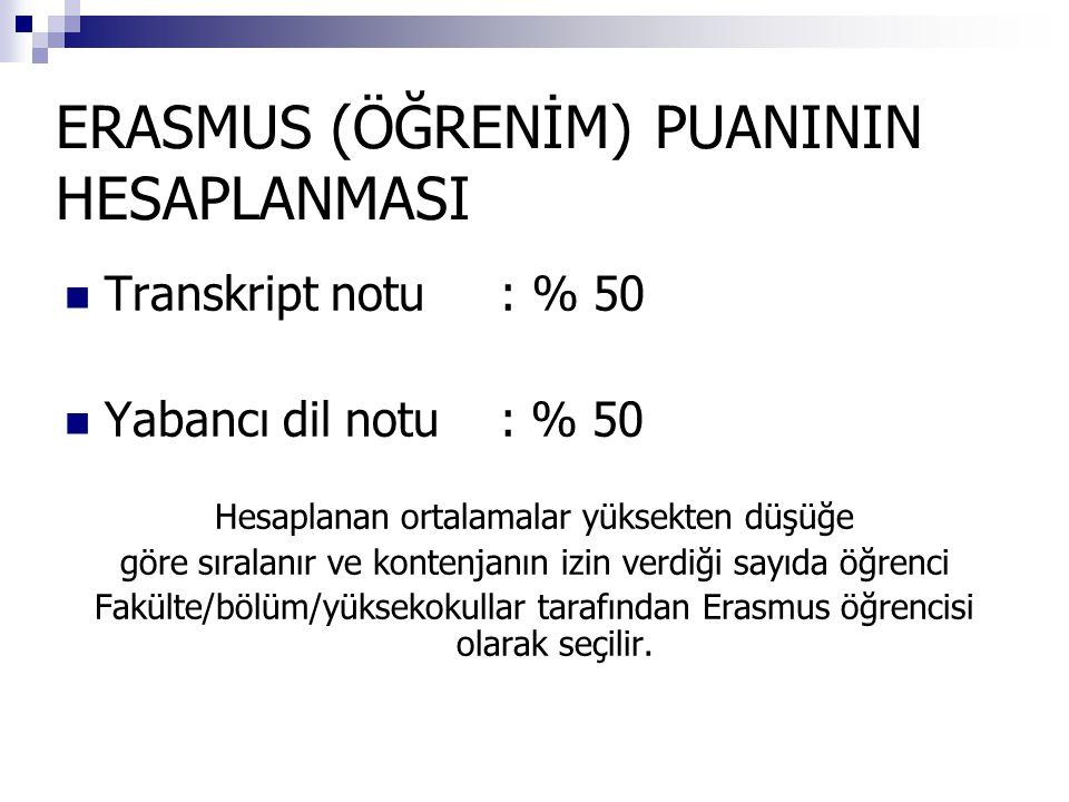 ERASMUS (ÖĞRENİM) PUANININ HESAPLANMASI  Transkript notu : % 50  Yabancı dil notu : % 50 Hesaplanan ortalamalar yüksekten düşüğe göre sıralanır ve kontenjanın izin verdiği sayıda öğrenci Fakülte/bölüm/yüksekokullar tarafından Erasmus öğrencisi olarak seçilir.