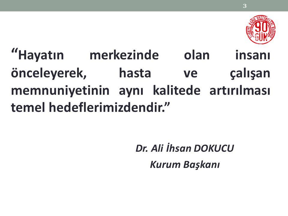 """Dr. Ali İhsan DOKUCU Kurum Başkanı 3 """" Hayatın merkezinde olan insanı önceleyerek, hasta ve çalışan memnuniyetinin aynı kalitede artırılması temel hed"""