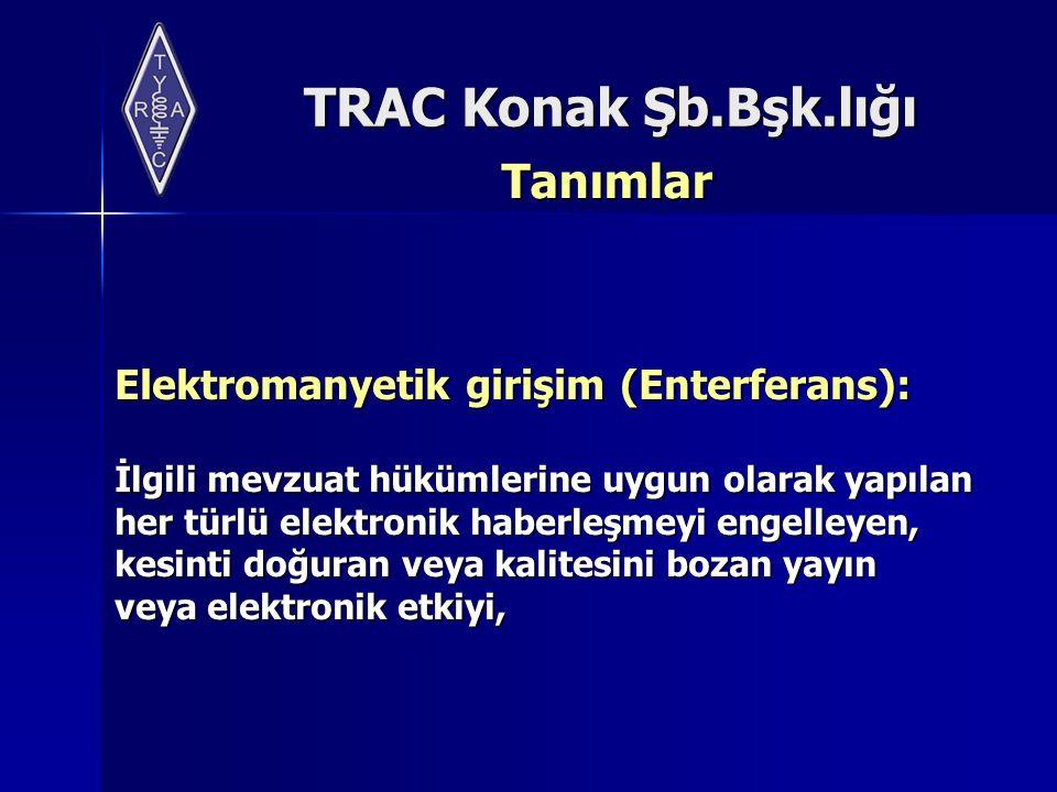 TRAC Konak Şb.Bşk.lığı Tanımlar Elektromanyetik girişim (Enterferans): İlgili mevzuat hükümlerine uygun olarak yapılan her türlü elektronik haberleşme
