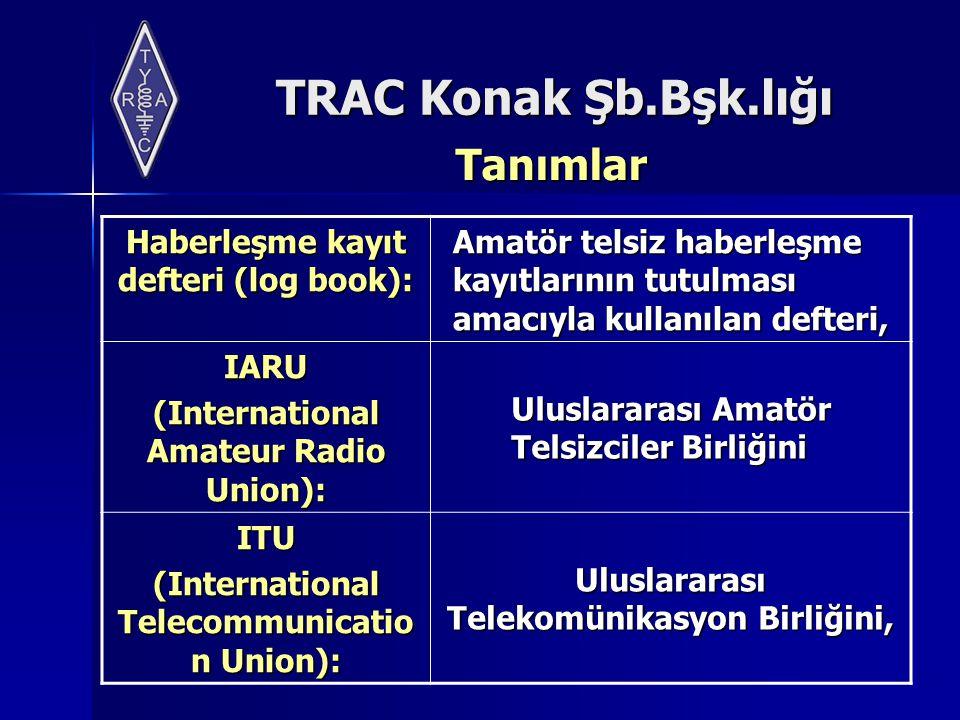 TRAC Konak Şb.Bşk.lığı Tanımlar Haberleşme kayıt defteri (log book): Amatör telsiz haberleşme kayıtlarının tutulması amacıyla kullanılan defteri, IARU