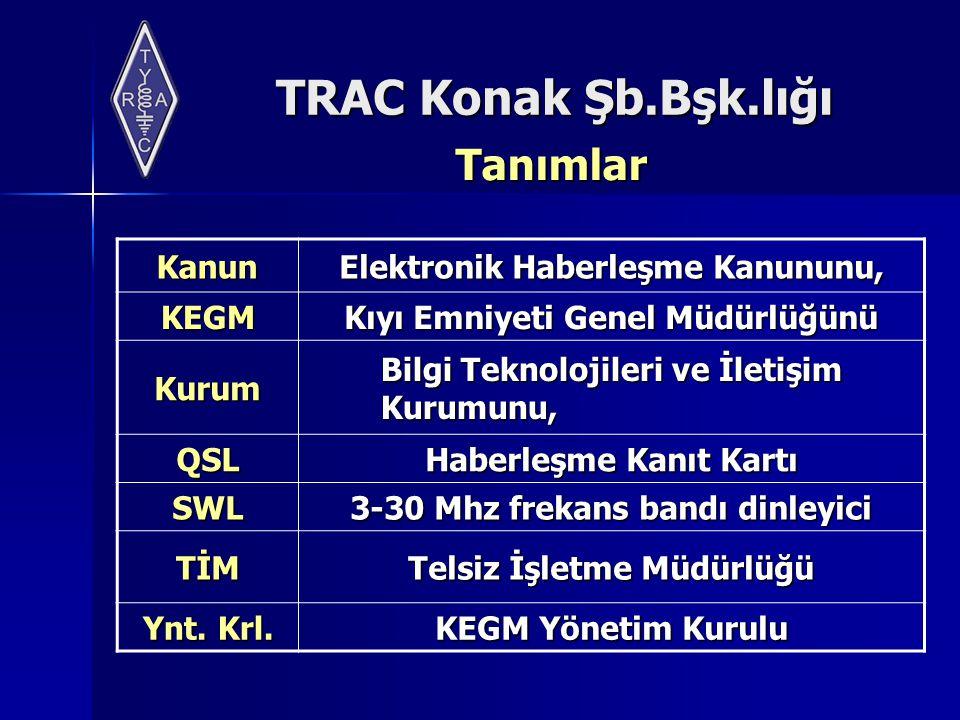 TRAC Konak Şb.Bşk.lığı Tanımlar Kanun Elektronik Haberleşme Kanununu, KEGM Kıyı Emniyeti Genel Müdürlüğünü Kurum Bilgi Teknolojileri ve İletişim Kurum