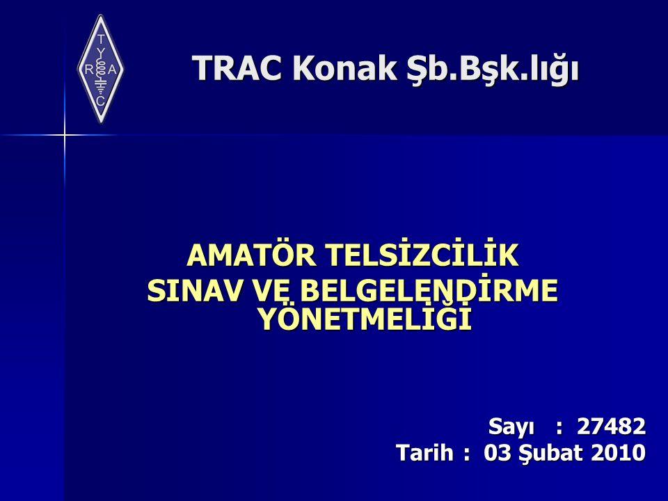 TRAC Konak Şb.Bşk.lığı Tanımlar Haberleşme kayıt defteri (log book): Amatör telsiz haberleşme kayıtlarının tutulması amacıyla kullanılan defteri, IARU (International Amateur Radio Union): Uluslararası Amatör Telsizciler Birliğini ITU (International Telecommunicatio n Union): Uluslararası Telekomünikasyon Birliğini,