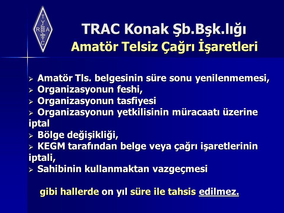 TRAC Konak Şb.Bşk.lığı Amatör Telsiz Çağrı İşaretleri Amatör Telsiz Çağrı İşaretleri  Amatör Tls. belgesinin süre sonu yenilenmemesi,  Organizasyonu