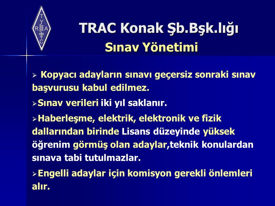 TRAC Konak Şb.Bşk.lığı Sınav Yönetimi  Kopyacı adayların sınavı geçersiz sonraki sınav başvurusu kabul edilmez.  Sınav verileri iki yıl saklanır. 