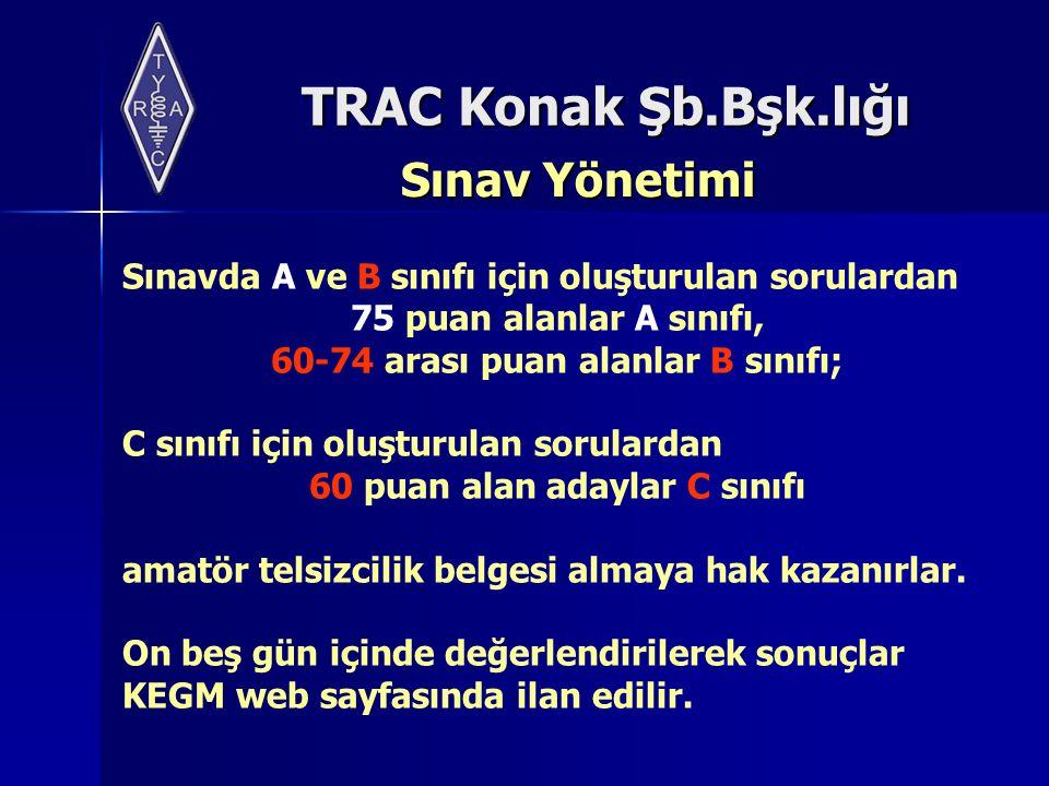 TRAC Konak Şb.Bşk.lığı Sınav Yönetimi Sınavda A ve B sınıfı için oluşturulan sorulardan 75 puan alanlar A sınıfı, 60-74 arası puan alanlar B sınıfı; C