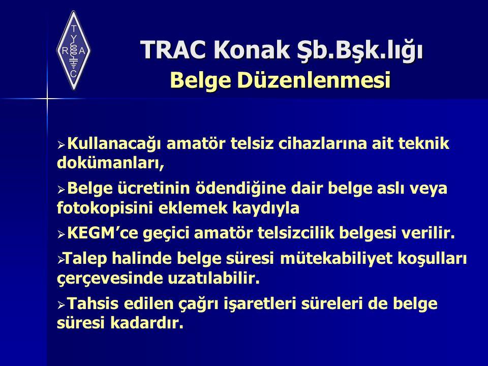 TRAC Konak Şb.Bşk.lığı Belge Düzenlenmesi  Kullanacağı amatör telsiz cihazlarına ait teknik dokümanları,  Belge ücretinin ödendiğine dair belge aslı