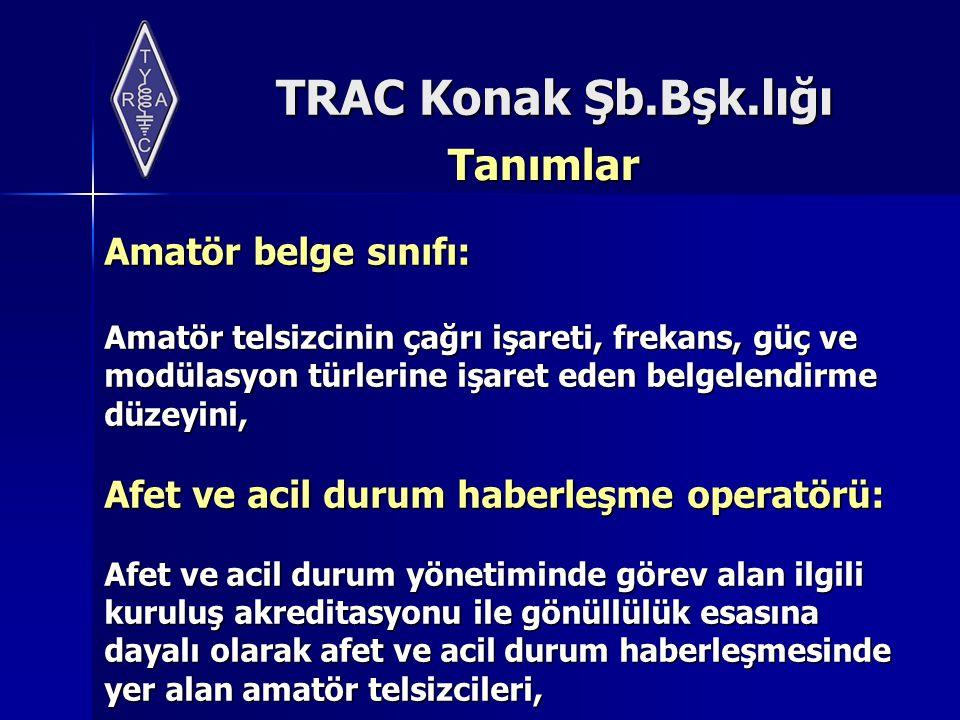 TRAC Konak Şb.Bşk.lığı Tanımlar Amatör telsiz haberleşmesi: Amatör telsizcilerin kişisel,maddi veya siyasi çıkar gözetmeksizin, teknik gelişim ya da hobi amacı ile amatör radyo bant planına uygun olarak aralarında yaptıkları, ulusal ve uluslararası boyuttaki telsiz haberleşmesini,