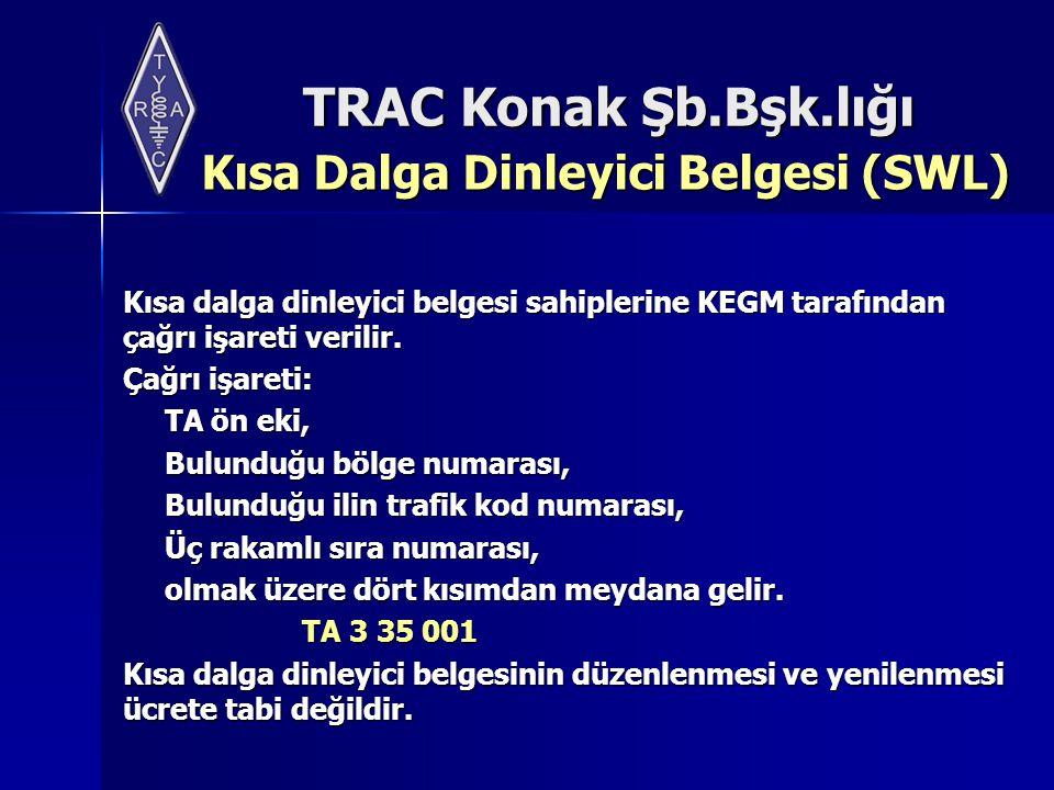 TRAC Konak Şb.Bşk.lığı Kısa Dalga Dinleyici Belgesi (SWL) Kısa dalga dinleyici belgesi sahiplerine KEGM tarafından çağrı işareti verilir. Çağrı işaret