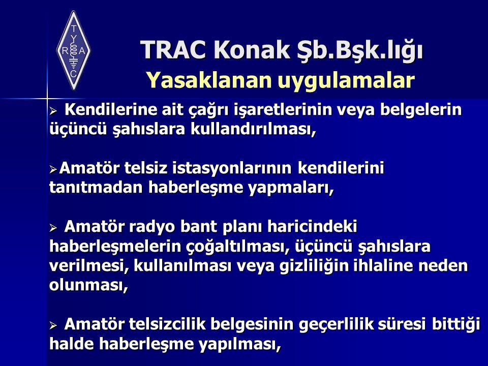 TRAC Konak Şb.Bşk.lığı  Kendilerine ait çağrı işaretlerinin veya belgelerin üçüncü şahıslara kullandırılması,  Amatör telsiz istasyonlarının kendile
