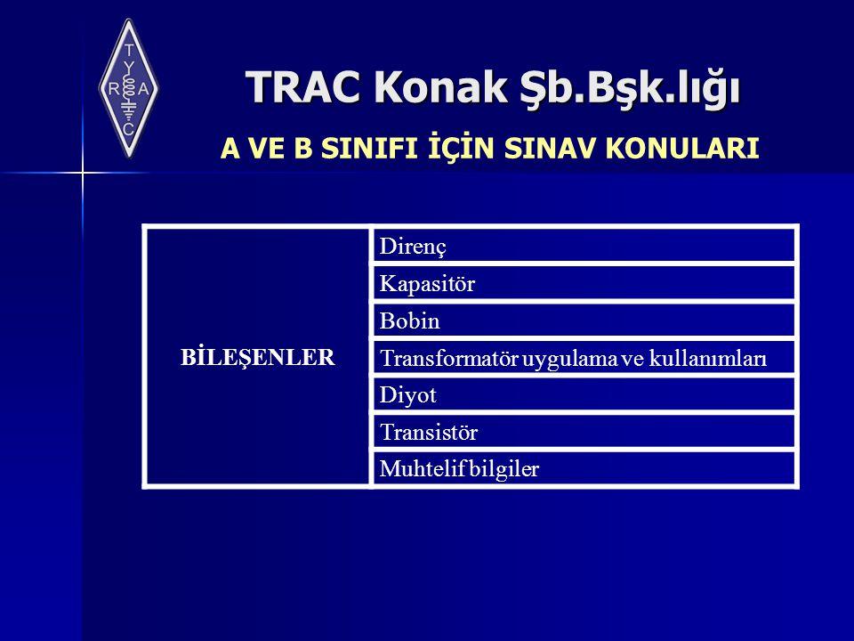 TRAC Konak Şb.Bşk.lığı BİLEŞENLER Direnç Kapasitör Bobin Transformatör uygulama ve kullanımları Diyot Transistör Muhtelif bilgiler A VE B SINIFI İÇİN