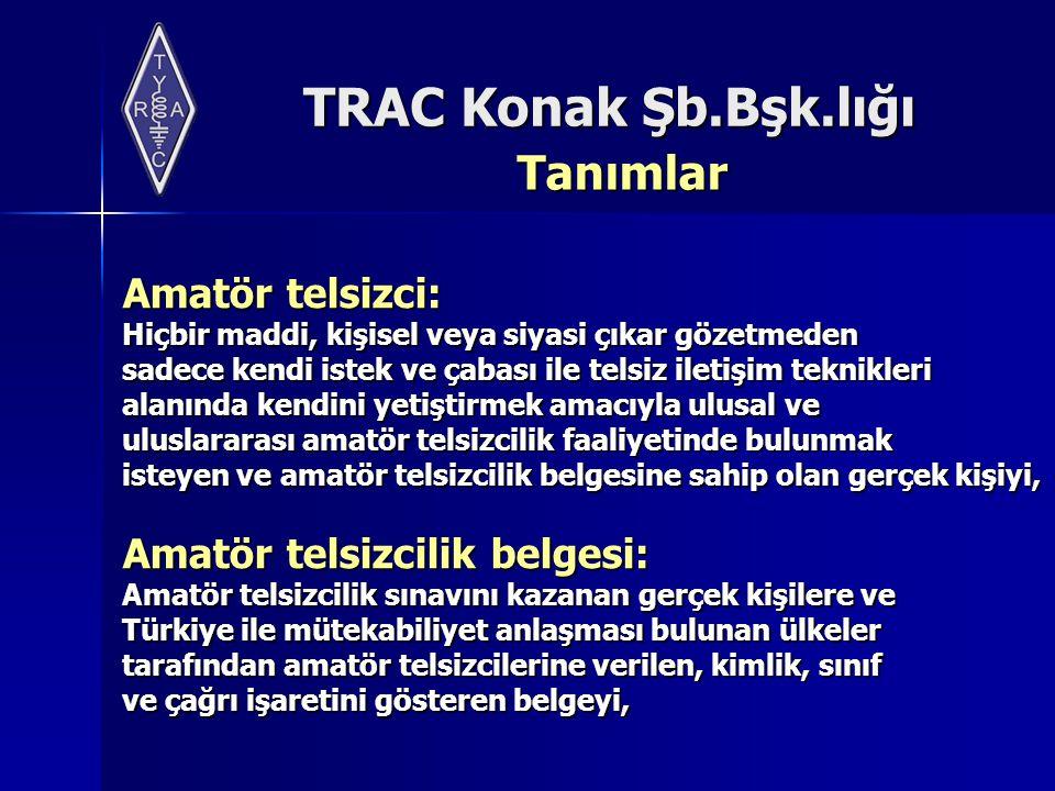 TRAC Konak Şb.Bşk.lığı Tanımlar Amatör radyo bant planı: Özel Telsiz Sistemleri Yönetmeliği'nde amatör telsiz haberleşmelerine izin verilen çıkış gücü, emisyon, bant genişliği ve frekansları gösterir bant planını Bölge numarası: Amatör telsizcilik belgesi için yapılan başvuruda beyan edilen ve istasyonun bulunduğu adresin dâhil olduğu bölgelere ait numaraları,