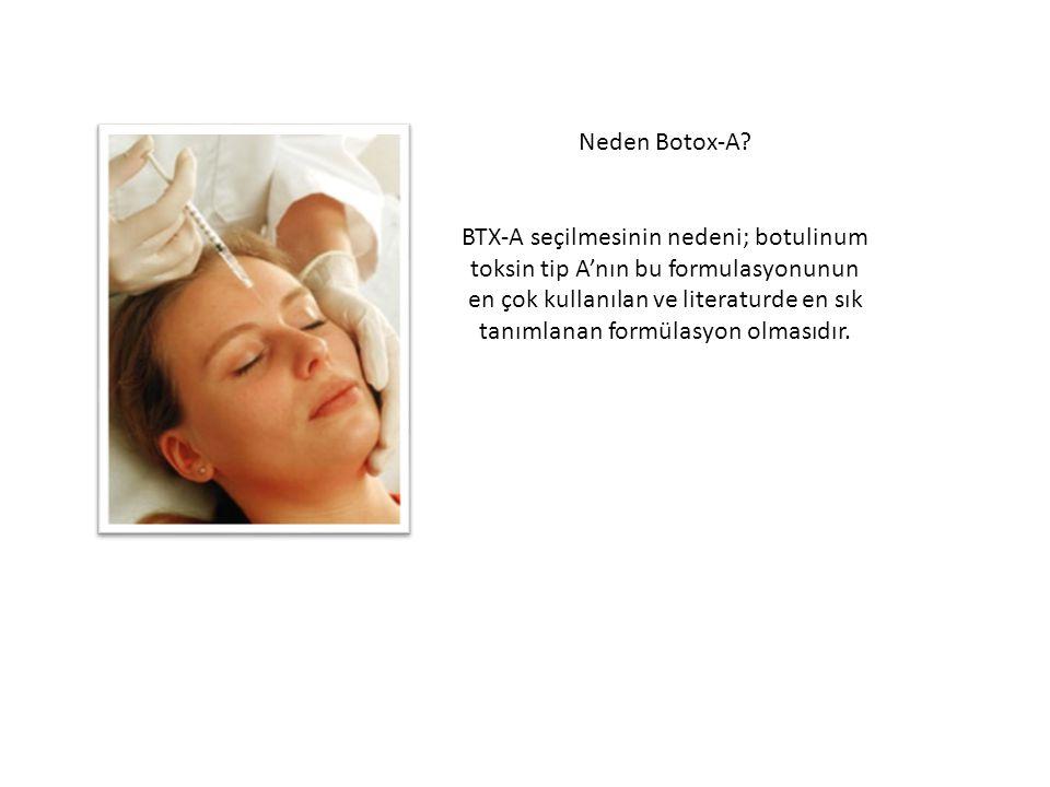 Neden Botox-A? BTX-A seçilmesinin nedeni; botulinum toksin tip A'nın bu formulasyonunun en çok kullanılan ve literaturde en sık tanımlanan formülasyon