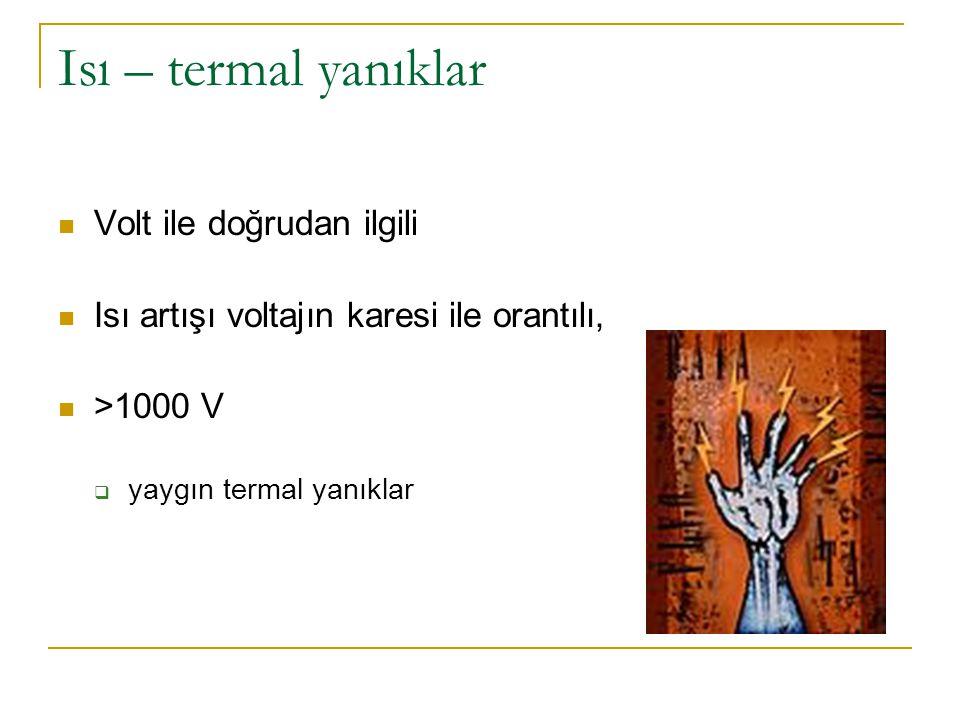Isı – termal yanıklar  Volt ile doğrudan ilgili  Isı artışı voltajın karesi ile orantılı,  >1000 V  yaygın termal yanıklar