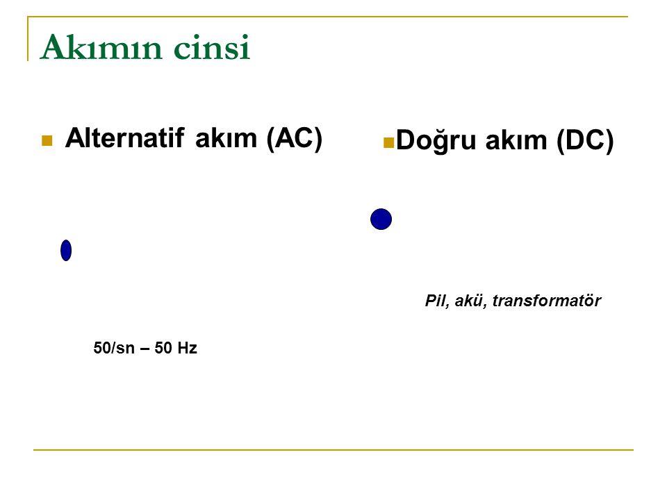 Akımın cinsi  Alternatif akım (AC)  Doğru akım (DC) 50/sn – 50 Hz Pil, akü, transformatör