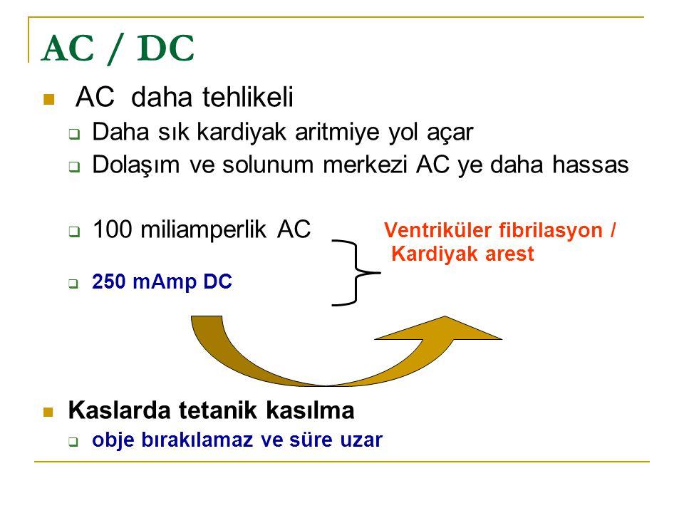AC / DC  AC daha tehlikeli  Daha sık kardiyak aritmiye yol açar  Dolaşım ve solunum merkezi AC ye daha hassas  100 miliamperlik AC Ventriküler fibrilasyon / Kardiyak arest  250 mAmp DC  Kaslarda tetanik kasılma  obje bırakılamaz ve süre uzar