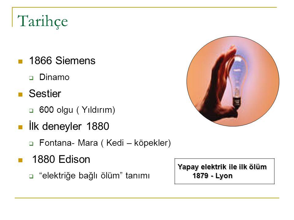 Tarihçe  1890- Elektrikle idam  William Kemmler  1944 Skalos Adjuantis  Akım izi üzerindeki metalik partiküller (Akroreaksiyon testi)  1944 Dale – Akım izinin tanımı  1957 Jellinek – Balık sürüsü  1965 Schaffer hücrelerdeki fuziform değişim