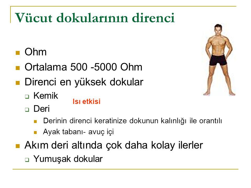 Vücut dokularının direnci  Ohm  Ortalama 500 -5000 Ohm  Direnci en yüksek dokular  Kemik  Deri  Derinin direnci keratinize dokunun kalınlığı ile orantılı  Ayak tabanı- avuç içi  Akım deri altında çok daha kolay ilerler  Yumuşak dokular Isı etkisi