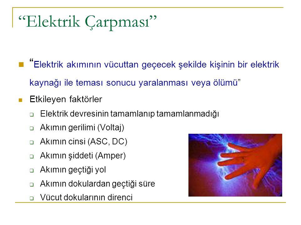 Ventriküler fibrilasyon  En sık ölüm nedeni ( 110- 220 V AC)  Öncelikle ileti sistemi bozulur  Ventriküler fibrilasyon  Kardiyak arest  Tıbbi aletler.