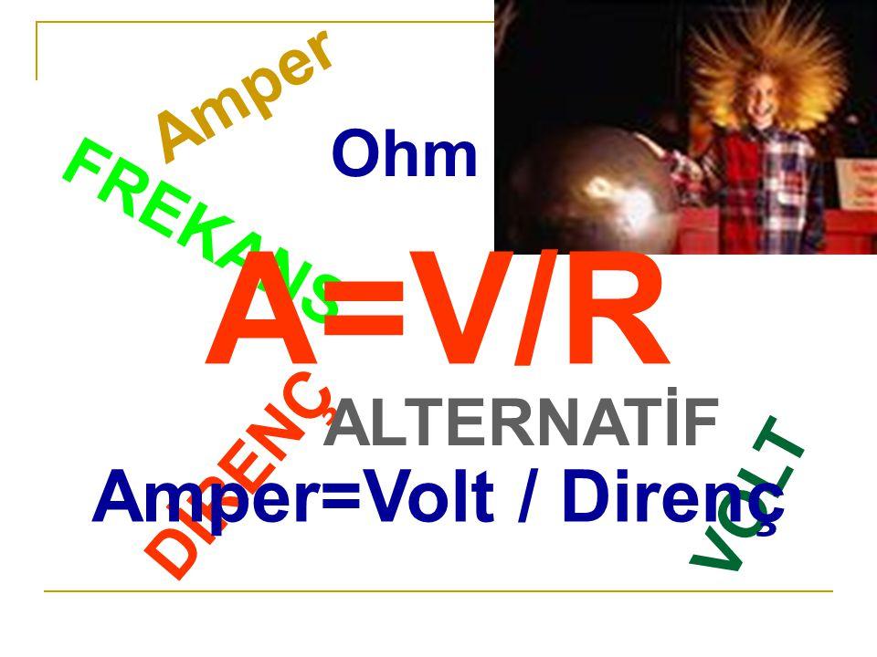 VOLT Amper DİRENÇ Ohm ALTERNATİF FREKANS A=V/R Amper=Volt / Direnç