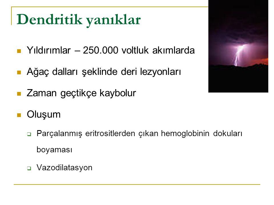 Dendritik yanıklar  Yıldırımlar – 250.000 voltluk akımlarda  Ağaç dalları şeklinde deri lezyonları  Zaman geçtikçe kaybolur  Oluşum  Parçalanmış eritrositlerden çıkan hemoglobinin dokuları boyaması  Vazodilatasyon