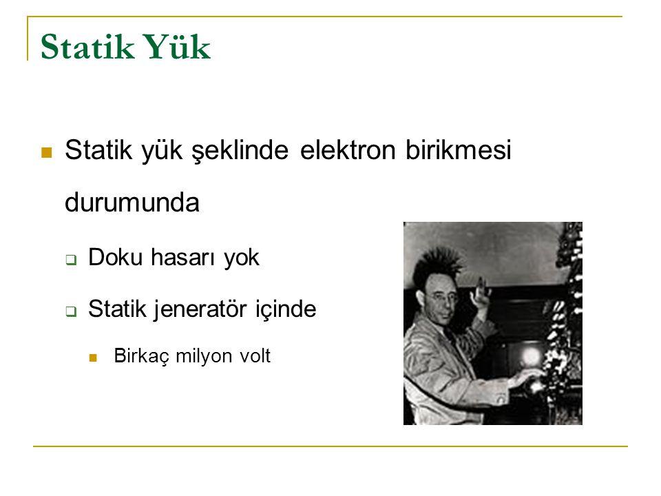 Statik Yük  Statik yük şeklinde elektron birikmesi durumunda  Doku hasarı yok  Statik jeneratör içinde  Birkaç milyon volt