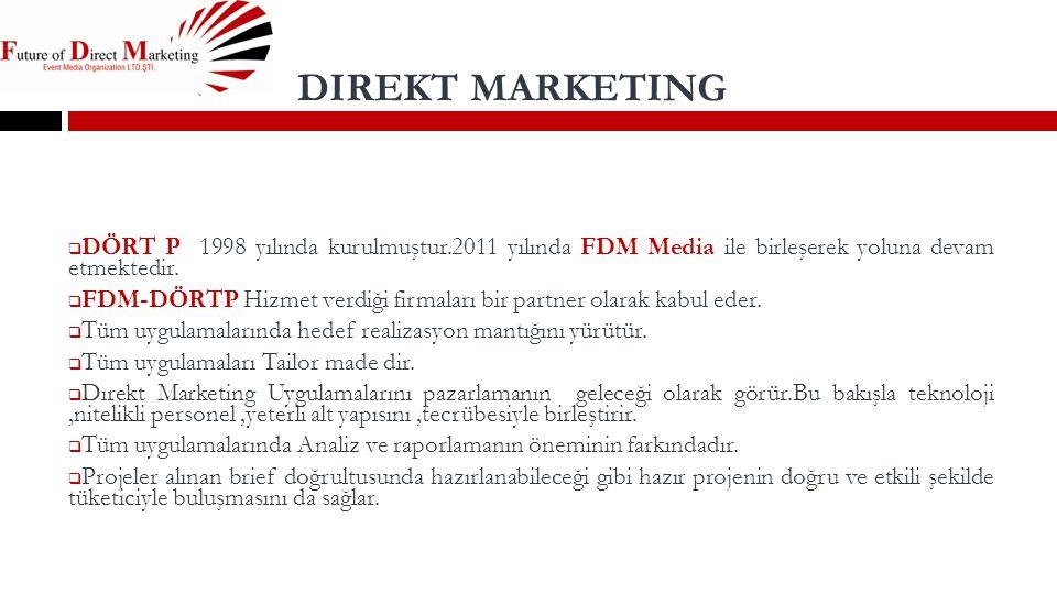 DIREKT MARKETING  DÖRT P 1998 yılında kurulmuştur.2011 yılında FDM Media ile birleşerek yoluna devam etmektedir.  FDM-DÖRTP Hizmet verdiği firmaları