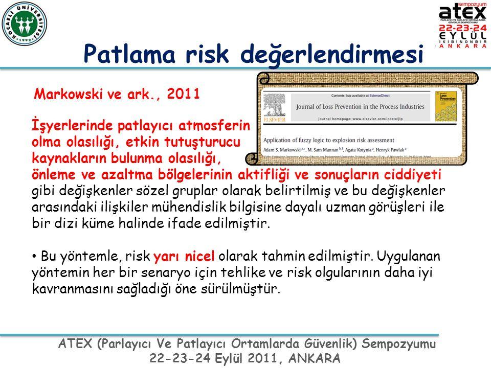 ATEX (Parlayıcı Ve Patlayıcı Ortamlarda Güvenlik) Sempozyumu 22-23-24 Eylül 2011, ANKARA Markowski ve ark., 2011 İşyerlerinde patlayıcı atmosferin olm