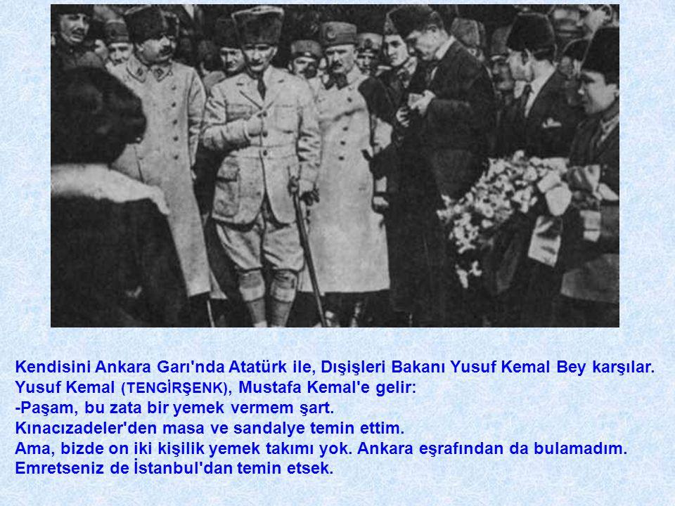 Kendisini Ankara Garı'nda Atatürk ile, Dışişleri Bakanı Yusuf Kemal Bey karşılar. Yusuf Kemal (TENGİRŞENK), Mustafa Kemal'e gelir: -Paşam, bu zata bir