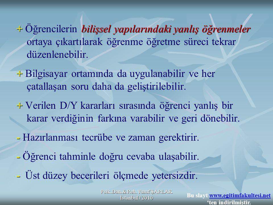 Psik.Dan.& Reh.Yusuf ŞARLAK İstanbul / 2010 +bilişsel yapılarındaki yanlış öğrenmeler + Öğrencilerin bilişsel yapılarındaki yanlış öğrenmeler ortaya çıkartılarak öğrenme öğretme süreci tekrar düzenlenebilir.