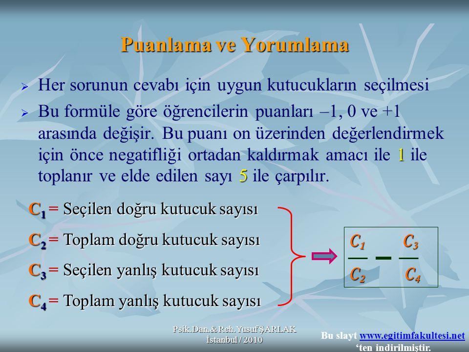 Psik.Dan.& Reh.Yusuf ŞARLAK İstanbul / 2010   Her sorunun cevabı için uygun kutucukların seçilmesi  1 5  Bu formüle göre öğrencilerin puanları –1, 0 ve +1 arasında değişir.